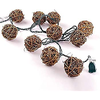 Globe Rattan Ball String Lights Goodia 13 8feet 40 Led