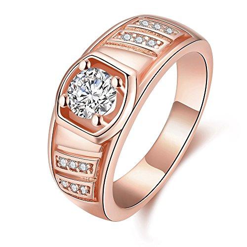 Gentlemans Titanium Diamond Set - Men's K Gold Jewelry Zircon Elegant Gentleman Geometric Diamond Rings,Rose Gold,Size 8