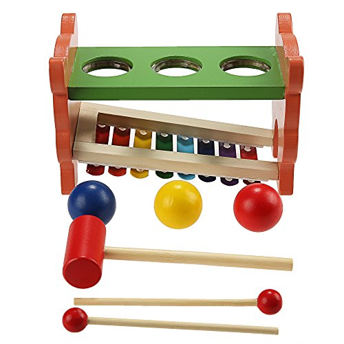 Funmily 2 in 1 Pound and Tap Bench with Slide Out Xylophone Wooden Music Toy for Kids by Funmily (Image #5)