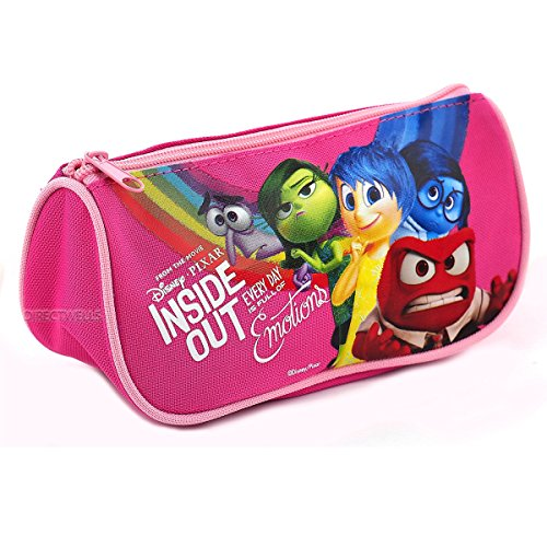 Disney Pixar Authentic Licensed Inside Out Multi Purpose Triangle Style Pencil Case (Pink)