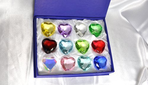 Gift Box Set 12 Beautiful Birthstones Paperweight Glass Heart Diamond 2 Crystal Art by HL Fashion (Box Heart Birthstone)
