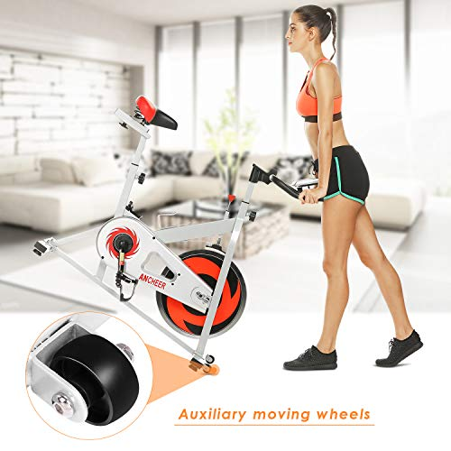 ANCHEER Stationary Bike, Indoor Cycling Exercise Bike 40 LBS Flywheel (Sliver_NO Pulse) by ANCHEER (Image #5)