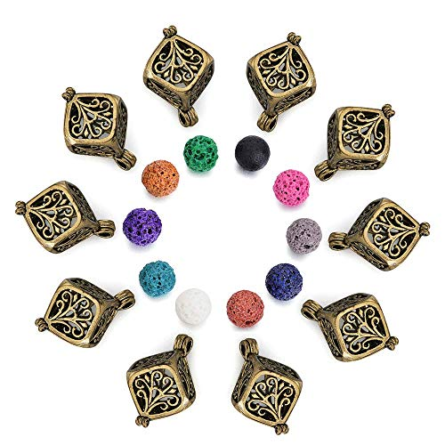10Pcs Diffuser Locket Aromatherapy Essential Oils Pendants, Rhodium Plated Tree of Life Cube Cage Pendant with Lava Rock for Necklace Bracelet Jewelry Making