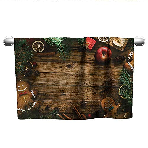 alisoso Christmas,Tea Towel Gingerbread Man Gift Box Coniferous Pine Cinnamon Dessert on Rustic Wood Theme Bath Towels for Kids Brown Green W 24