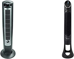 """Lasko Portable Electric 42"""" Oscillating Tower Fan with Nighttime Setting, Timer and Remote Control, Silver T42951 & Honeywell QuietSet Whole Room Tower Fan-Black, HYF290B"""