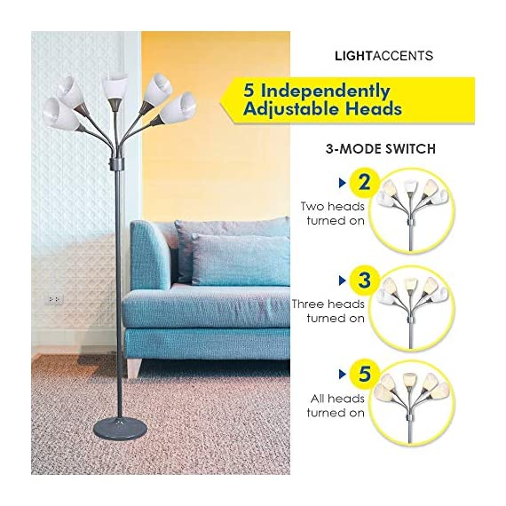 Modern Floor Lamp Room Light by Lightaccents - Medusa Multi Head Standing Lamp Bedroom Light with 5 Positionable White Acrylic Reading Shades Room Light (Grey) - GOOSENECK FLOOR LAMP WITH WHITE ACRYLIC SHADES: Made from durable metal with a painted Grey finish, this floor lamp features white shades offering a modern style. PERFECT FOR USE AS A LIVING ROOM FLOOR LAMP, KID'S ROOM FLOOR LAMP, OR DORM ROOM ADJUSTABLE FLOOR LAMP: The white shades give this floor lamp a unique look and make it perfect for use in any kid's room, living space, or dorm room. FLEXIBLE FLOOR LAMP, KID'S ROOM FLOOR LAMP, OR DORM ROOM FLOOR LAMP: The multicolored shades give this floor lamp a unique look and make it perfect for use in any kid's room, living space, or dorm room.ADJUSTABLE GOOSENECK - living-room-decor, living-room, floor-lamps - 51CckggcaAL. SS570  -