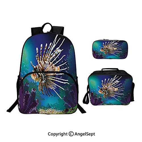 School Backpack With Lunch Bag Pencil Bag One Set,Underwater World Exotic Bubble Fish and Plants Nautical Theme Illustration Blue Brown Purple,Lightweight Laptop Bag For Teen Boys And Girls