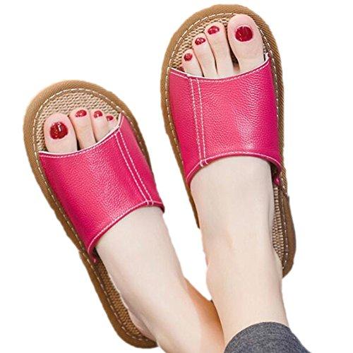TELLW Dormitorio Vaca Transpirable olores Primavera Zapatillas de Mujer Cuero Verano Oto Rosa o Mujer Antideslizante Interior Prueba Verano casa Masculina Cool de a de Zapatillas rwOrxR