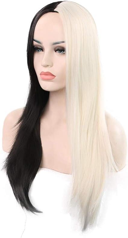 Rindasr Peluca negra blanca. Sección larga de la mujer. Rizos de cabello recto. Cabeza de 68 cm. De 27 pulgadas. Peluca de pelo largo y rizado resistente al calor con peluca.: Amazon.es: