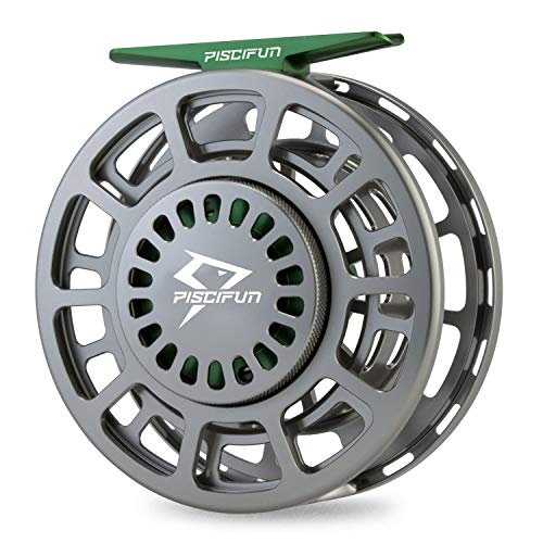 Piscifun Platte Fully Sealed Drag Large Arbor Fly Fishing Reel with CNC-machined Aluminum Alloy Body 5/6 Gunmetal (Best Trout Fly Reel For The Money)