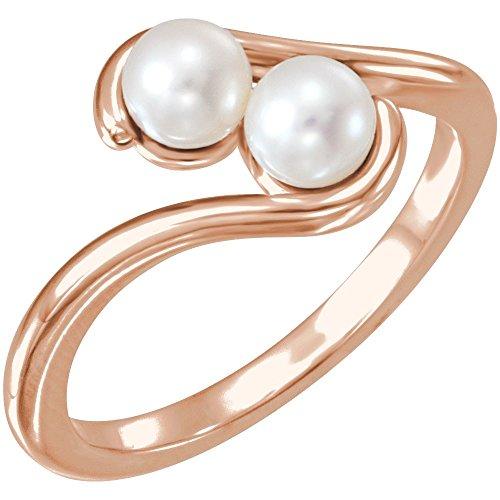 Vermeil Cultured Pearl 18k - Gemstone rings, 14K Rose Freshwater Cultured Pearl Two-Stone Ring