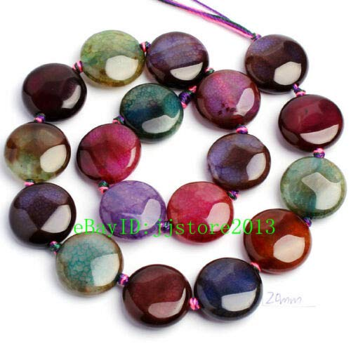 FidgetFidget 12,16,18,20,25mm Natural Faceted Cracked Coin Shape Loose Beads Strand 15