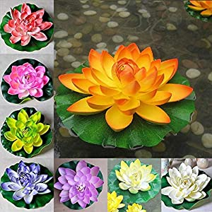 My Aashis 1PC Floating Artificial Lotus Flowers Decor Floating Pond Decor Water Lily Home Decoration 51
