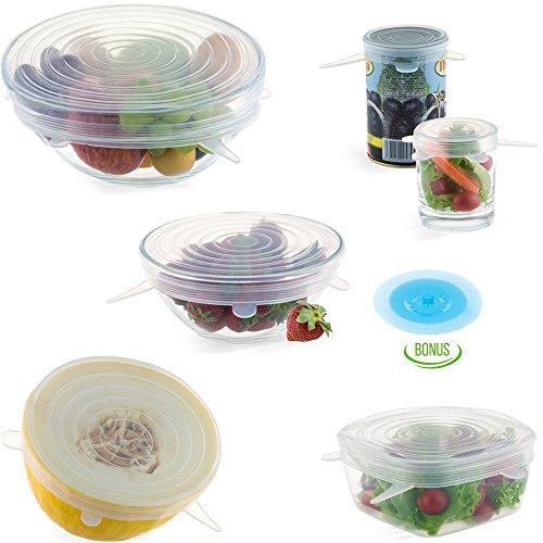"LetChef Silicone Stretch Lids 6 Pack + Gift 5"" Suction Lid - Keep Food Fresh - Multi-Size Stretchable Covers for Bowls, Cups, Pots, Can, Mason Jar - Flexible Reusable Freezable (Cooking Halloween Potluck)"
