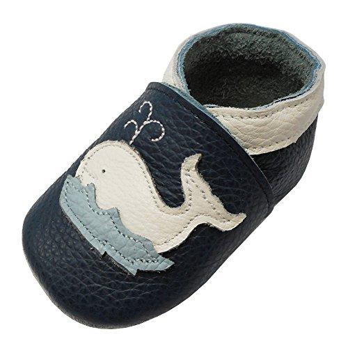 23f6610496d4a YIHAKIDS Chaussures Souples Bebe Chaud Chaussons en Cuir Doux enfant Unisex  - Dessin Baleine
