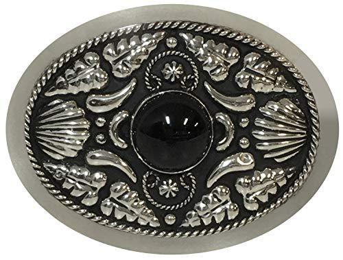 German Silver Tone Belt Buckle with Onyx Stone
