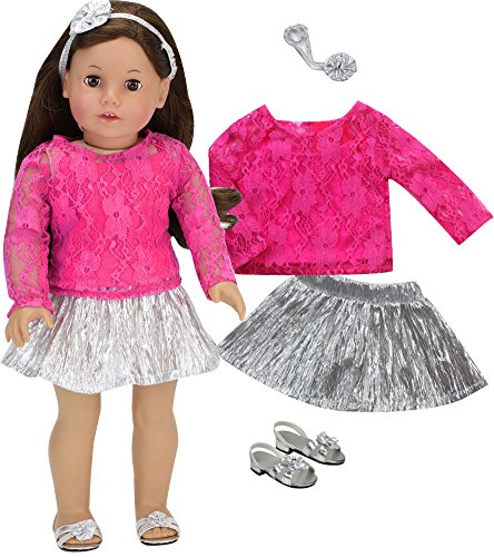 Sophia's Doll Clothing Set of Silver Metallic-Look Doll Skirt, Hot Pink Lace Top, Headband & Silver Doll Shoes, Perfect for American Dolls & More, 18 Inch Doll Dressy Outfit with Doll Dress Shoes -