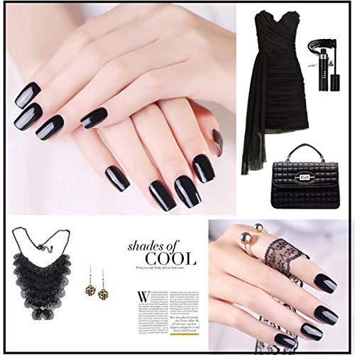 MAGIC ARMOR Black Gel Nail Polish One Step No Need Base and Top Coat Fast Cure UV Gel Polish 10ML - black