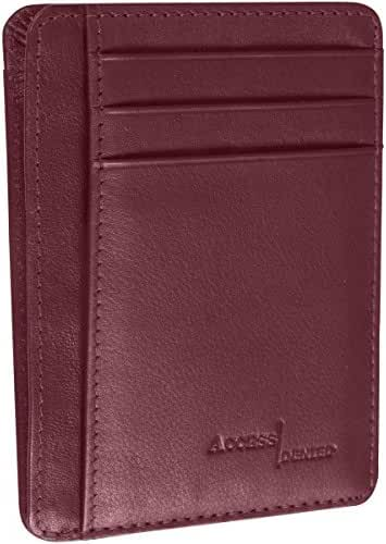 Access Denied RFID Front Pocket Wallet Minimalist Slim Genuine Leather