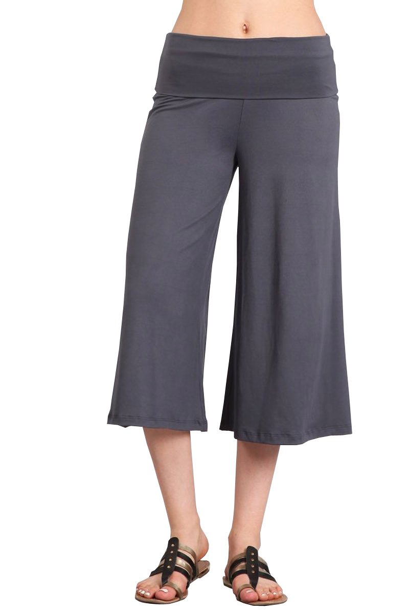 HEYHUN Women's Solid Wide Leg Flared Capri Boho Gaucho Pants - Grey - Medium