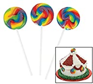 Mini Swirl Pops. Mixed Fruit Flavor (Approx. 38 Pcs. 1 Lbs) 1 1/2″ Sucker, 3 3/4″ Stick.