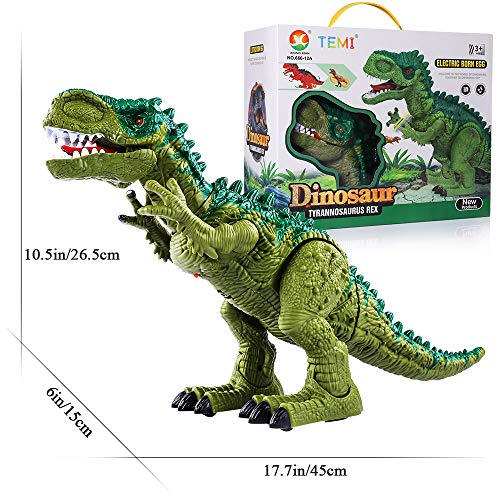 TEMI Electronic Walking Dinosaur Toys for Kids Boys Girls, Battery Powered Jurassic Green Tyrannosaurus Rex Model T-Rex Dragon with Sounds and Projection Lights, Real Movement, Laying Eggs by TEMI (Image #6)