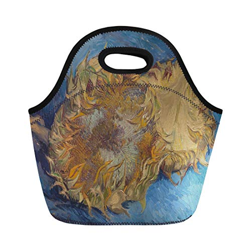 Semtomn Neoprene Lunch Tote Bag Sunflowers By Vincent Van Gogh 1887 Dutch Post Impressionist Reusable Cooler Bags Insulated Thermal Picnic Handbag for - Oil Paintings 1887
