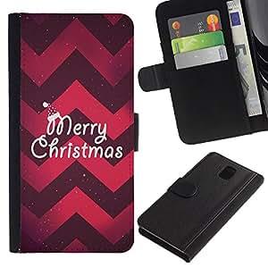 Planetar® Modelo colorido cuero carpeta tirón caso cubierta piel Holster Funda protección Para Samsung Galaxy Note 3 III ( Patrón Feliz Navidad Ciruelo Rojo Chevron )