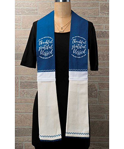 (Brownlow Gifts 65605 100% Cotton Kitchen Scarf with Attached Towels, 4 x 70, Thankful Grateful)