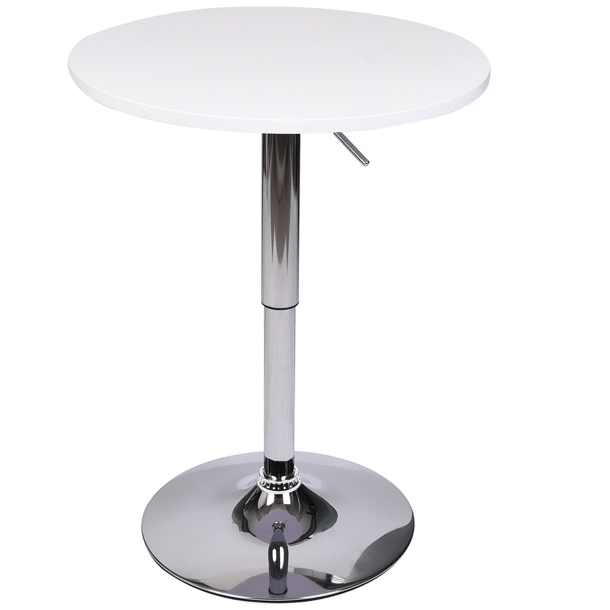 Elecwish ELEWISH Pub Bar Table Round White MDF Swivel Top with Chrome Finish Base Adjustable Height for Counter