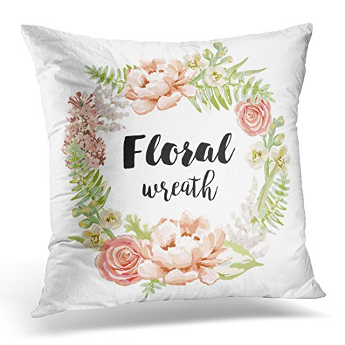 Golee Throw Pillow Cover Blush Pale Pink Garden Flowers Wreath Design Artwork for the Tee Peony Rose Lilac Gillyflower Floral Decorative Pillow Case Home Decor Square 16x16 Inches (Pale Blossom Apparel)