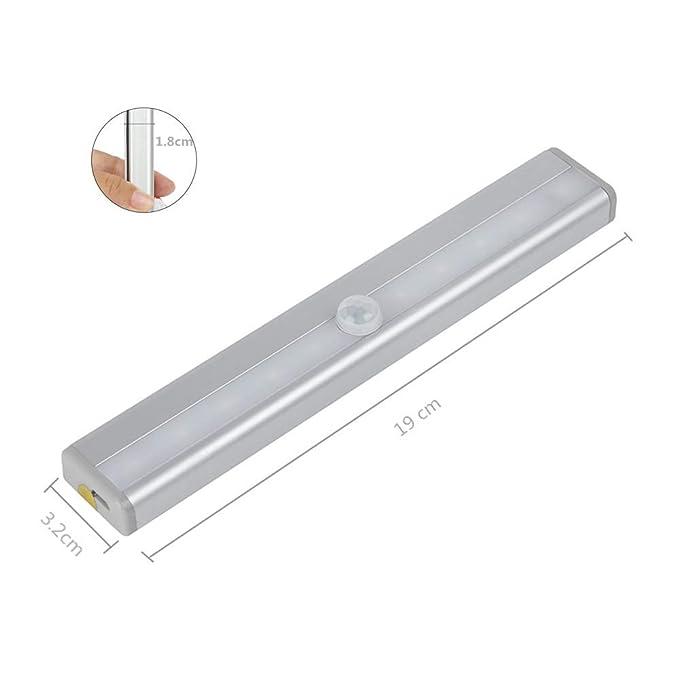 Luz del sensor de movimiento,luz LED para guardarropa, diseño de bricolaje portátil fácil de instalar, luz nocturna recargable con USB para la ...