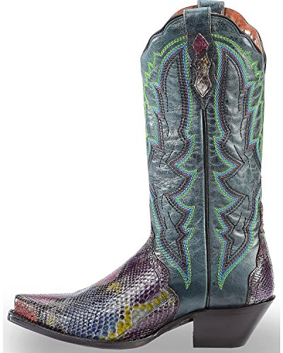 Dan Post Womens Painted Belly Python Triad Cowgirl Boot Snip Toe Multi 9 M