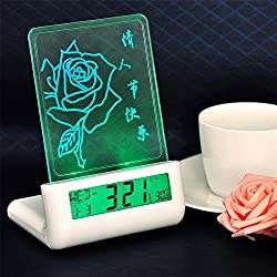 RCLITE Creative Erasable Memo Board Fluorescent Light Message Board LED Digital Alarm Clock USB 2 Port Hub With Thermometer Calendar Snooze Green Backlight Gift