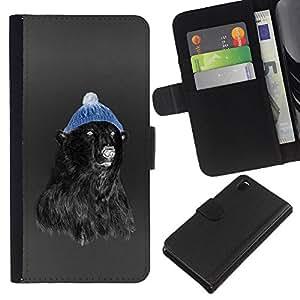 EJOY---La carpeta del tirón la caja de cuero de alta calidad de la PU Caso protector / Sony Xperia Z3 D6603 / --Hipster Oso
