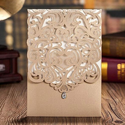 WOMHOPE 50 Pcs - Classics Vertical Wedding Invitation Hollow Laser Cut Lace Shimmer Party Invitations Cards Birthday Invitations Cards Wedding Favors (Gold)