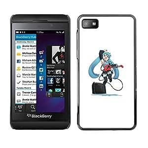 Caucho caso de Shell duro de la cubierta de accesorios de protección BY RAYDREAMMM - Blackberry Z10 - Lindo Anime japonés Muchacha de la guitarra