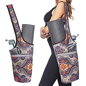 Ewedoos Yoga Mat Bag with Large Size Pocket and Zipper Pocket, Fit Most Size Mats