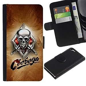 All Phone Most Case / Oferta Especial Cáscara Funda de cuero Monedero Cubierta de proteccion Caso / Wallet Case for Apple Iphone 5 / 5S // Skull Knives Russian
