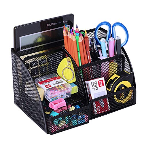 Metal Stationary - MONBLA Mesh Multi-Functional Stationery Storage Organizer Office Stationery Case Stationary Caddy Metal Desk Organizer Pencil Pen Holder 5 Compartments Black