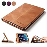 iPad Mini Case - BoriYuan Vintage Genuine Leather Smart Cover Protective Slim Folio Flip Stand for Apple iPad Mini 3 Mini 2 Mini 1 with Card Slot Magnetic Sleep Wake+Stylus+Screen Protector - Brown