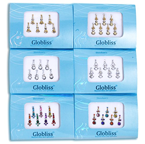 Globliss 6 Packs with 42 Long Indian Bindis face Gems Forehead Sticker Silver Golden Colorful ()
