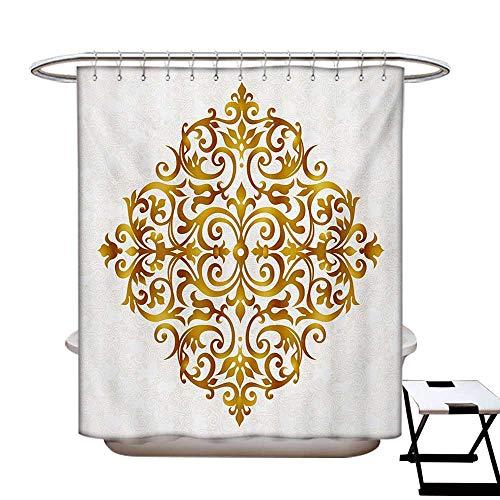 BlountDecor Mandala Shower Curtains Digital Printing Victorian Style Traditional Filigree Inspired Royal Oriental Classic Print Satin Fabric Bathroom Washable W72 x L72 Pale Caramel White