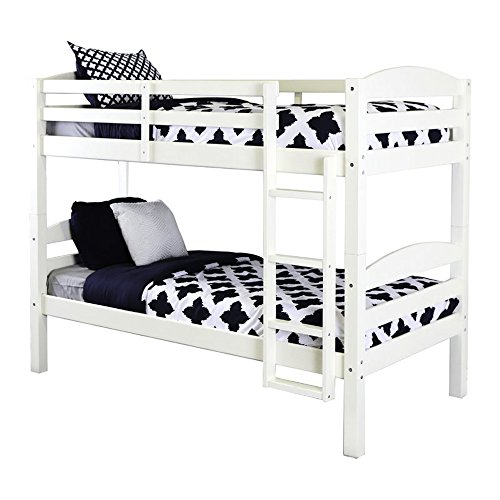 Twin Bunk Bed Frame - Twin Over Twin Size Wooden Bunk Bed with Ladder - Convertible to 2 Beds - Kids Toddlers Room Furniture - Mattresses Not Included! (White)