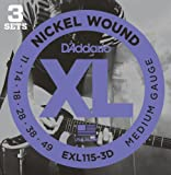 D'Addario EXL115-3D Nickel Wound Electric Guitar Strings, Medium/Blues-Jazz Rock, 11-49, 3 Sets