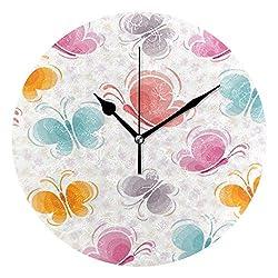 HangWang Wall Clock Pink Butterfly Pattern Silent Non Ticking Decorative Round Digital Clocks Indoor Outdoor Kitchen Bedroom Living Room