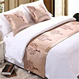 YIH Bed Runner Scarf Orange, Luxury Decorative Tree Bed End Scarf For Bedroom Hotel Wedding Room, 102 Inches By 19 Inches