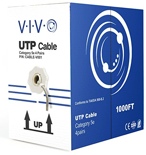 VIVO 1,000 ft Bulk Cat5e Ethernet Cable/Wire UTP Pull Box 1,000ft Cat-5e Style Grey - 5e Category Wire