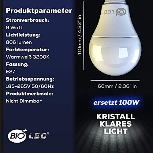 Bioled 9 W, Pacco da 12, Bianco Caldo 3200K, 9 Watt Lampadina LED Equivalenti a 100 W, Attacco E27, 806lm Alta luminosità e Risparmio Energetico Non Dimmerabile, luce LED E27