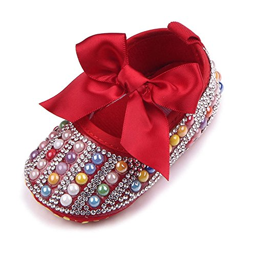 Z-T FUTURE Infant Baby Girls Shoes Cute Bow Diamonds Sparkly Mary Jane Crib Dress Princess - Bow Janes Mary Shoes